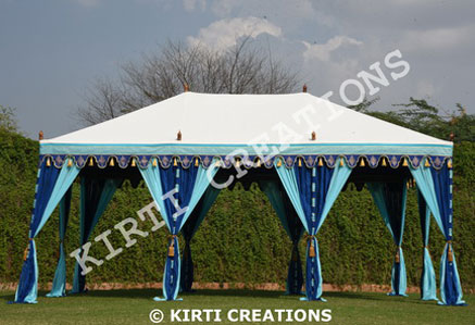 Kirti Creations provide various exclusive new design tent but Maharaja Tent Maharani Tent Mughal Tent and Raj Tent is our top most demanding tent. & Kirti Creations